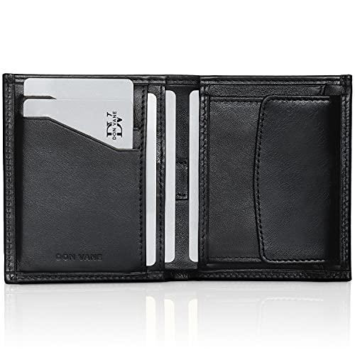 DON VANE Geldbörse Herren klein echtes Leder, Mini Portemonnaie mit RFID Schutz + Geschenk Box, Slim Wallet mit Münzfach, Geldbeutel Männer klein, Portmonee Geldtasche Brieftasche flach Schwarz