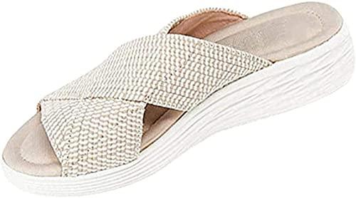 SONG Sandalias Deportivas De Playa para Mujer, Sandalias Ortopédicas Elásticas De Tejido Elástico, Zapatos De Plataforma De Cuña Antideslizantes De Verano Sandalias,Beige-36