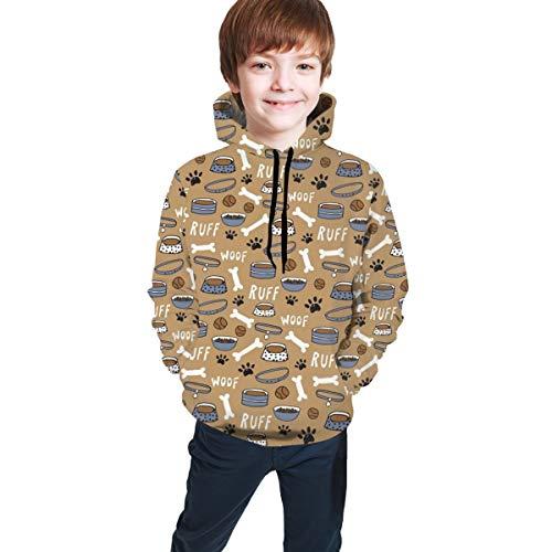 gjhj Hundepfote Ruff Woof Bone Hip-Hop Sweatshirts Pullover Winter Herbst Tops für Teenager Mädchen Jungen Gr. S, Schwarz