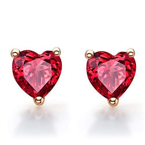 Beydodo Pendientes de Mujer Oro Rosa,Pendientes Oro Rosa 18k Corazón Granate Rojo 1.28ct
