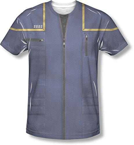 Star Trek - Herren Enterprise Command Uniform T-Shirt, Large, White