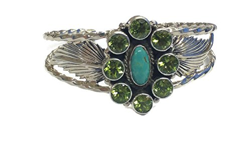 Chaco Canyon Couture .925 Sterling Silver Native American Navajo Tribe Jewelry Peridot Turquoise Handcrafted