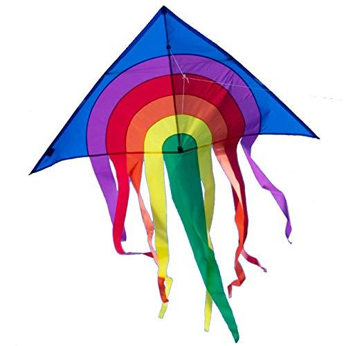 CIM Großer Kinder-Drachen - SUPER-Drachen Rainbow Delta XL blau – Einleiner Flugdrachen für Kinder ab 6 Jahren - 150x166cm - inklusiv Drachenschnur und Streifenschwänze