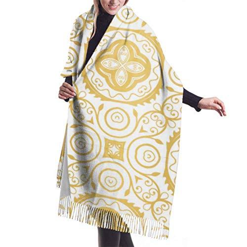 huancheng Sciarpa invernale unisex classica sensazione di cashmere, baground dorato modello di lusso Seaml elegante vettore lungo grandi sciarpe calde avvolgere scialle stola