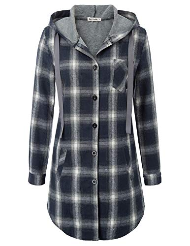 Women Plaid Long Sleeve Collar Neck Casual Button Down Shirts L Navy Blue