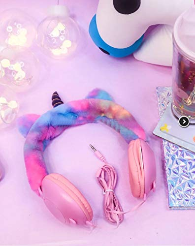 SWARN Colourful Wired Adjustable Headphone Handband Stereo Sound for Girl's Unicorn Head Phone (3.5 mm)