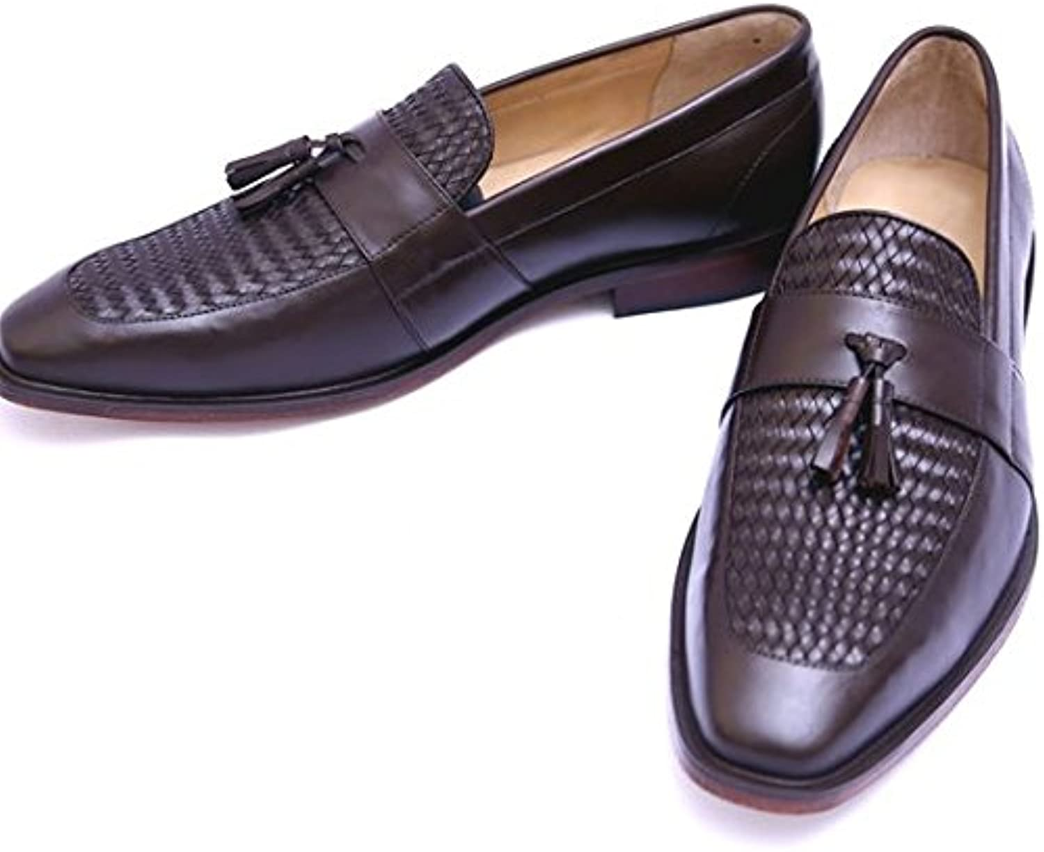 EIGHTYEIGHTSTEPS Hand Made Leather shoes in Calf Leather Slip ON shoes Upper Woven Style Brown color Art NO. 002-16