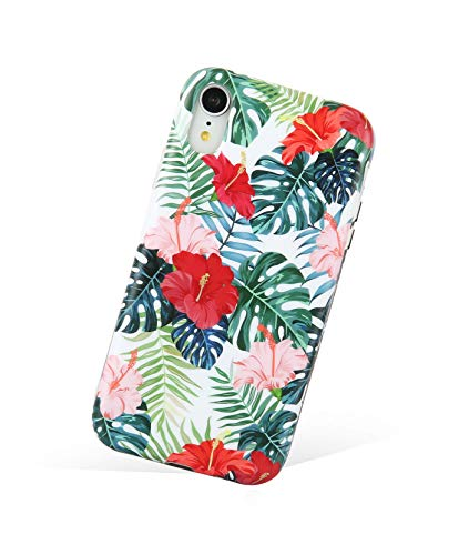 Zeronal iPhone XR Case Red Flowers and Leaf iPhone XR Cases, Soft TPU Bumper Hawaii Microfiber Lining Shell Shockproof Full-Body Protection Cover for iPhone XR Clear 6.1' - Flower Banana & Leaves