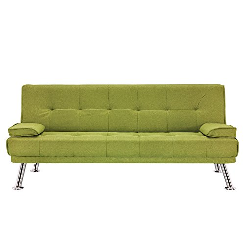 Panana Fabric Sofa Bed 2 to 3 Seater Modern Sleeper Couch Seat Padded Lounge Sofa with 2 Cushions for Living Room Guest Room (Fabric Green)