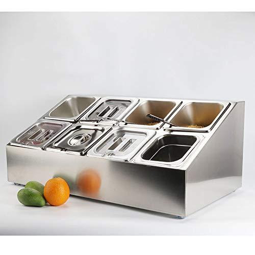 Bandeja para Servir Ensaladas, Carrito De Frutas/Verduras/Condimentos, Chips Y Salsas - Acero Inoxidable 8 Compartimento Extraíble Contenedor De Alimentos con Tapas con Muescas