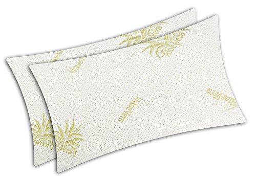 V.I.P. Very Important Pillow V.I.P. Coppia Federe Aloe Vera Elasticizzato con Zip per Cuscino Guanciale Memory 50 x 80 cm, Made in Italy, Poliestere, Bianco Tessuto Jacquard Bielastico