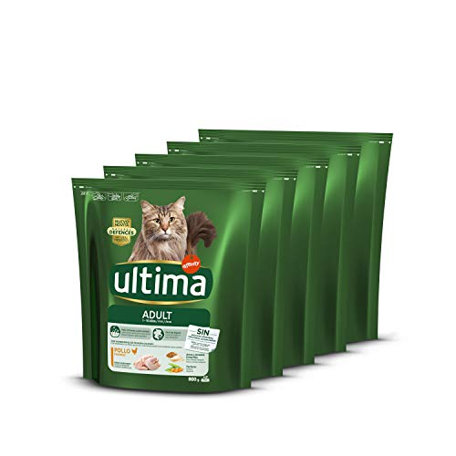 ultima Pienso para Gatos Adultos con Pollo - Pack de 5 x 800 gr - Total: 4kg