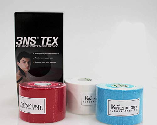 3NS TEX Kinesiology Tape-Baumwolle 5 cm x 5 m White Blue Red