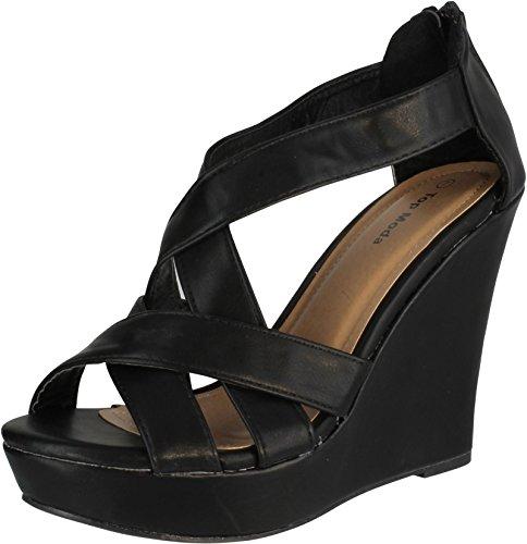 TOP Moda Ella-18 Women s Gladiator Wedge Heel Sandals,Black,7.5