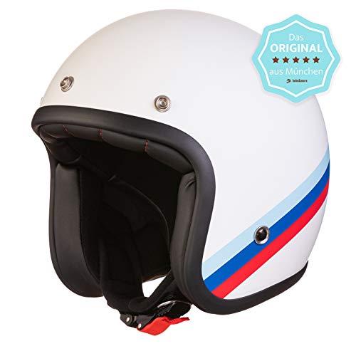 ORIGINAL Fräulein Irmi Retro Vespa-Helm, Jet-Helm mit Sonnen-Visier, Roller-Helm...