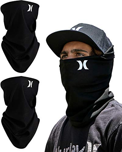 Hurley 2 Pack Multipurpose Neck Gaiter Face Mask with Moisture Wicking Technology, One Size, Black/Black
