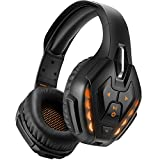 YOTMS Wired Gaming Headset for PS4, Xbox One, PC, Nintendo Switch, with Detachable Mic, Bluetooth Wireless Over Ear Headset with Bulit in Mic, 40 Hours of Use, Noise Cancelling Headphones (Orange)