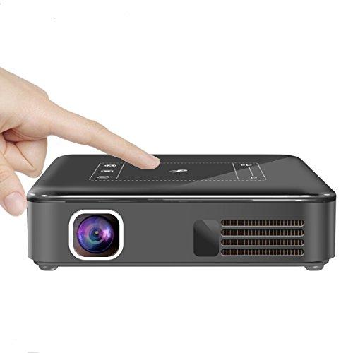 AIJIWU Smart DLP Mini Proiettore, Caratteristiche con Uscita HDMI, Funzione Miracast e Airplay - Portatile Pocket WIFI LED Proiettore Batteria Incorporata