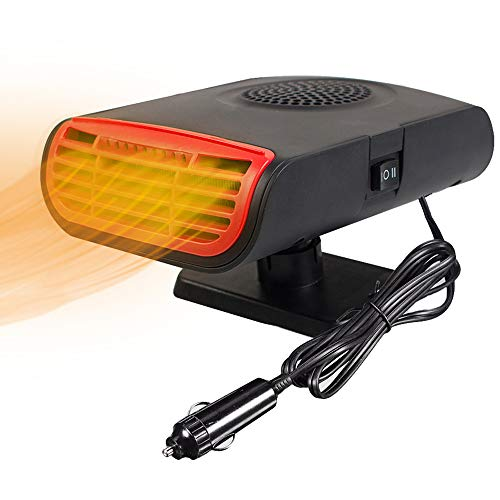 Funwill Car Heater, 12V Portable Car Windshield Defrost Defogger, 3 In 1 Portable Car Heater/Cooling/Air Purify Function, 150W Plug in Cigarette Lighter 360 Degree Rotary Base Black