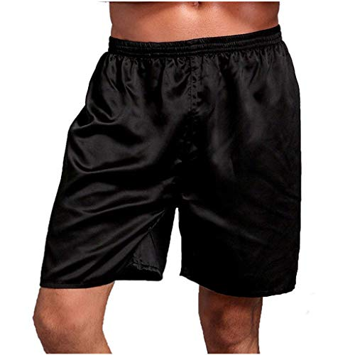 iHHAPY Mens Shorts Sleep Pants Home Shorts Breathable Satin Shorts Elatic Waist Super Soft Pajama Shorts Lightweight