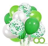 MAKFORT 60 Stück Grün & Weiß Luftballons mit Konfetti Ballons Grün & 2XLuftschlangen Helium Ballons für Hochzeit Geburstagsdeko Dinosaurier Party Babyparty Dekoration