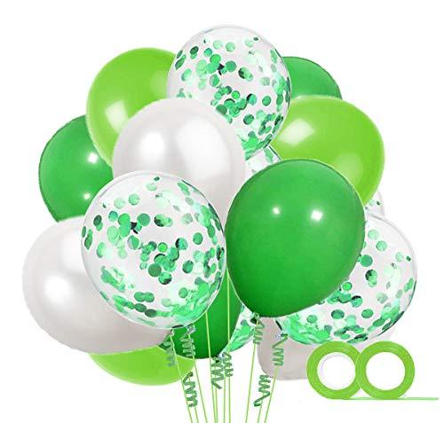 MAKFORT 60 Stück Grün und Weiß Luftballons mit Konfetti Ballons Grün und 2XLuftschlangen Helium Ballons für Hochzeit Geburstagsdeko Dinosaurier Party Babyparty Dekoration