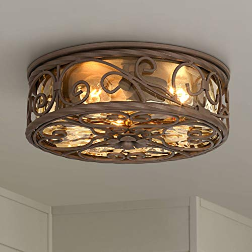 """Casa Seville Rustic Outdoor Ceiling Light Fixture Dark Walnut Iron Scroll 12"""" Champagne Water Glass Damp Rated for Exterior House Porch Patio Deck - John Timberland"""