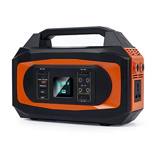 500W Portable Power Station (750W Peak), 407Wh Solar Outdoor Generator, Mobile Lithium Battery Pack with 110V/500W AC Outlet for Road Trip Camping, Outdoor Adventure