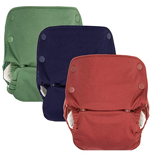 GroVia Reusable All in One Snap Baby Cloth Diaper (AIO) - 3 Pack (Color Mix 3)