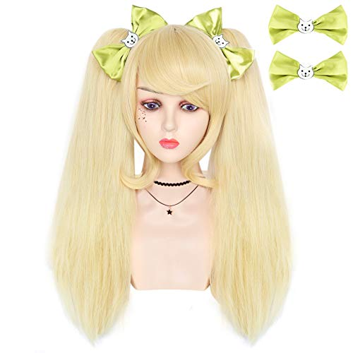 IMEYLE Wig (2 Bowknot) Blonde Party Wig With 2 Ponytails Long Wavy Wig With Bangs Synthetic Wig For Costume