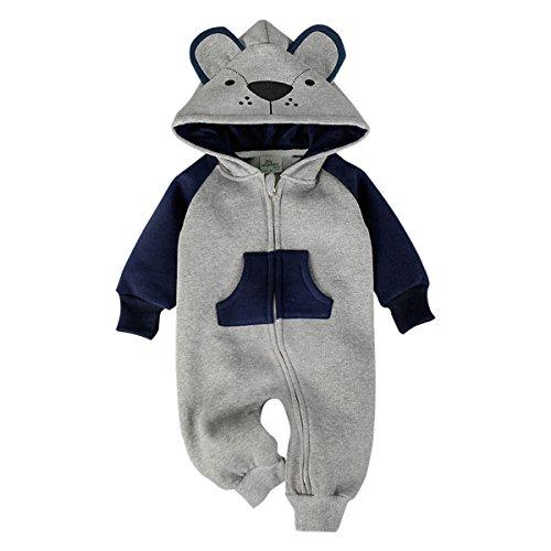 Bebone Bebone Baby Junge Mädchen Strampler Baumwolle Babykleidung (6 Monate/80, Grau)