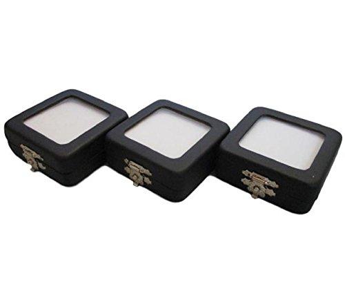 ルース ケース PU レザー 金具 留め具 窓付き 宝石 原石 裸石 ジュエリー 入れ 箱 ボックス ディスプレイ (小 3個セット)
