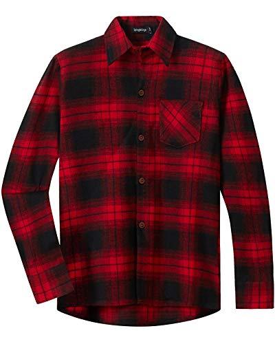 Spring&Gege Jungen Langärmliges Kariertes Button-Down Flanellhemd für Kinder, Rot schwarz, 140-146