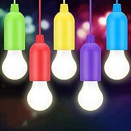 BINKE LED Pull Cord lumière,Portable 5 pièces lumière,LED Pile Ampoulpour randonnée, pêche, Bureau, Camping,Jardin…