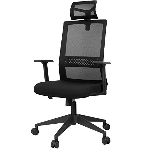 SunJas Bürostuhl Ergonomisch, Schreibtischstuhl, Drehstuhl mit verstellbare Kopfstütze, Höhenverstellung Computerstuhl, Belastbar bis 120kg, Schwarz