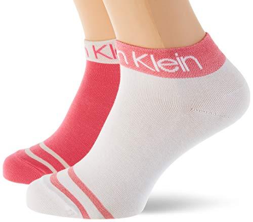Calvin Klein Socks Womens Short 2p Legwear Logo Zoey Socks, pink Combo, ONE SIZE