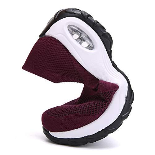 CIELLTE - Calcetines antideslizantes para mujer, diseño de zapatillas deportivas con cojín de aire Du vin Talla única
