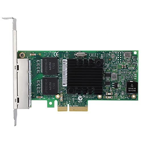 Lazmin112 Tarjeta de Red PCIe de 4 Puertos, Servidor Adaptador de Tarjeta de Red Gigabit Ethernet Intel i350AM4 Dual Integrated Mac + Phy y Controlador de Chip Serdes con Chip I350AM4