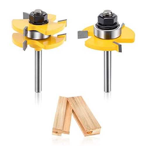 Jionchery Tongue and Groove Set of 2 Pieces, 1/4 Inch Shank Router Bit Set 3 Teeth Adjustable T Shape Wood Milling Cutter