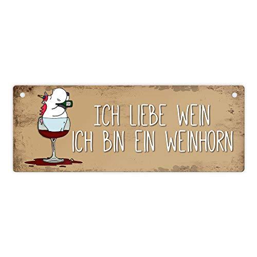 trendaffe - Honeycorns Metallschild mit Einhorn Motiv und Spruch: Ich Liebe Wein ich Bin EIN Weinhorn