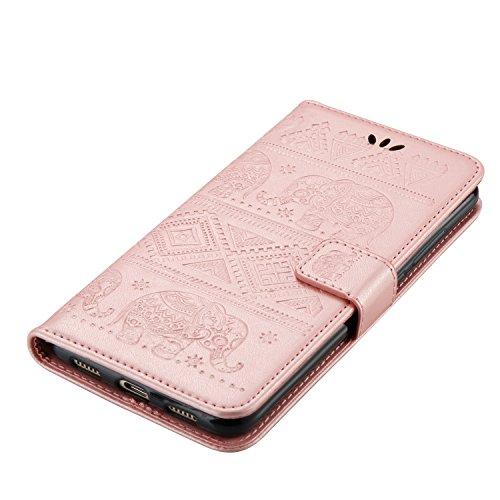 kompatibel mit Huawei Nova Plus Hülle,Huawei Nova Plus Lederhülle Schutzhülle Leder Tasche Flip Case,Prägung Elefant PU Leder Brieftasche Flip Hülle Kunstleder Wallet Tasche Cover,Rose Gold - 4