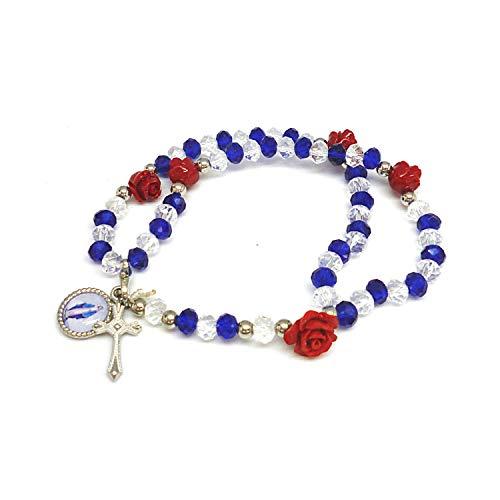 DELL'ARTE Artículos religiosos, rosario pulsera de cristal de 5 mm con rosas – Color azul y blanco