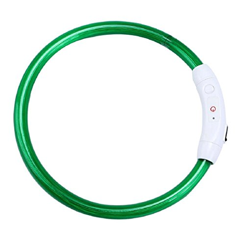 WENOVL LED Dog Collar,Glowing Pet Dog Collar Night Safety Fashion Light Up Collar (Green, 50CM)
