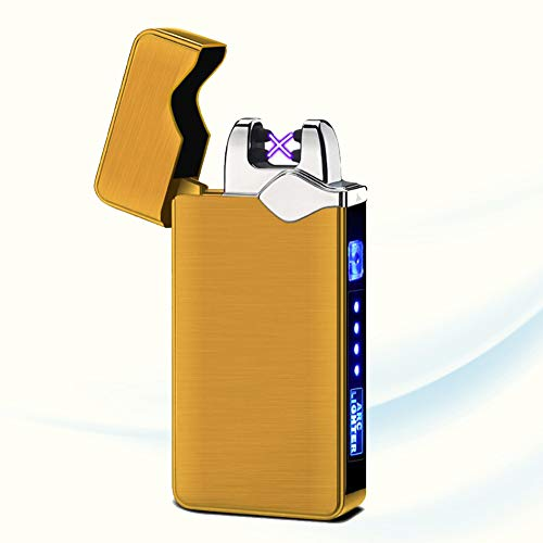 Encendedor De Doble Arco De Plasma Sin Llama Encendedor Eléctrico A Prueba De Viento Encendedor De Pulso Cruzado Lightning Recargable USB con Interruptor De Botón Indicador De Batería,J