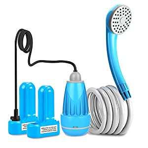 innhom Portable Shower Outdoor Camp Shower Camping Shower Camp Shower Pump, Electric Rechargeable Portable Shower, Powered by Rechargeable Battery or Car Cigarette Lighter 1 Year Warranty