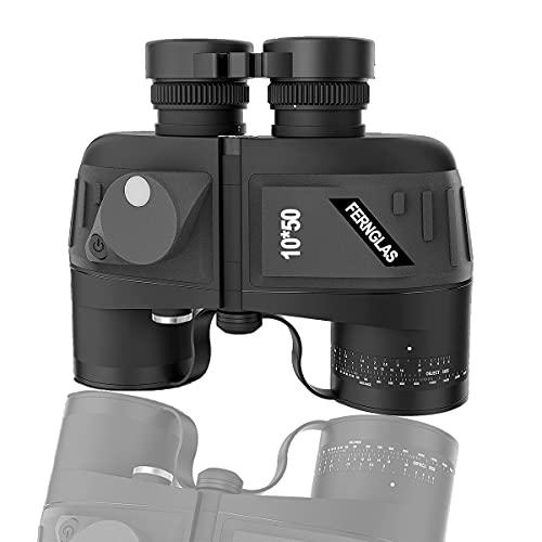 Prismáticos con visión nocturna y brújula, 10 x 50, de alto rendimiento, para adultos, con telémetro interno y brújula, para navegación, observación de aves.