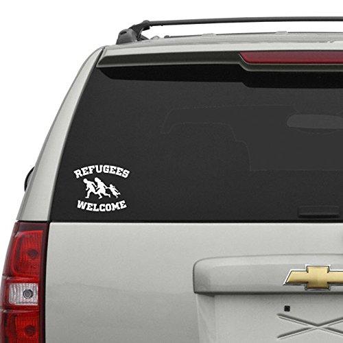 Refugees Welcome Car Sticker Weiss