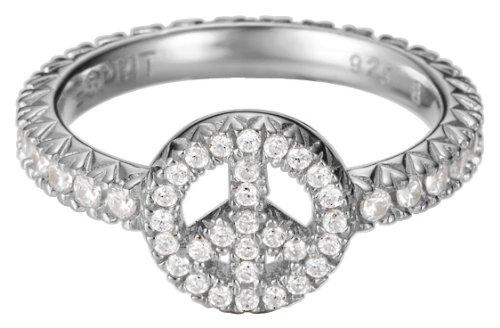 Esprit Damen-Ring 925 Sterling Silber rhodiniert Kristall Zirkonia brilliance peace weiß