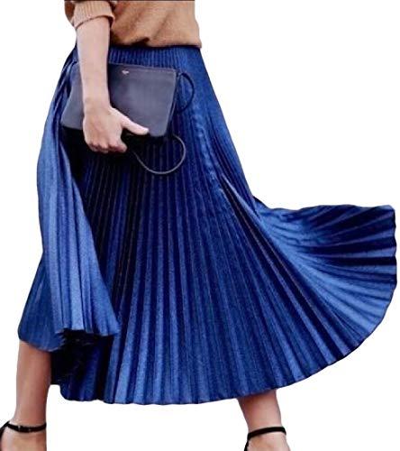 yibiyuan Falda de Mujer con Cintura elástica y Plisada, Azul, Talla única