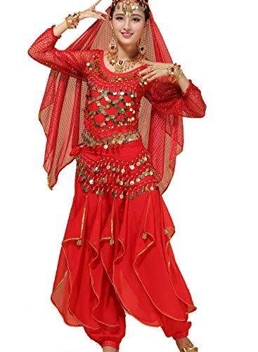 ZYLL Trajes De Danza De La India para Adultos, Trajes De Danza del Vientre Trajes De CompeticióN De Rendimiento De Escenario Conjunto De 5 Piezas